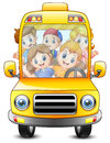 Happy kids riding with a bus