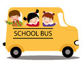 Happy kids in school bus Royalty Free Stock Image