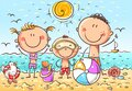 Happy kids at the seaside, doodle drawing, vector