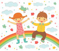 Happy kids sitting on rainbow illustration of Stock Image