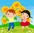 Happy kids and sunflower Royalty Free Stock Photo