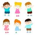 Happy kids variety nationality cartoon .