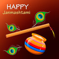 Happy Krishna Janmashtami. Greeting post card.