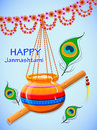 Happy Krishna Janmashtami. Greeting post card. Light background
