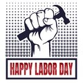 Vector Happy Labor Day card. National american holiday illustration with hand tools. Festive poster or banner with hand lettering
