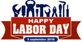 Happy labor day celebrating banner with silhouettes of workers t