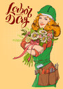 Happy Labor Day. Girl worker in helmet with bouquet of flowers