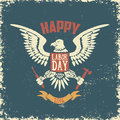 Happy labor day poster template. Eagle on grunge background. Royalty Free Stock Photo