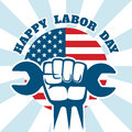 Happy Labor Day and workers right vector poster