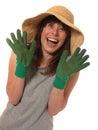 Happy lady gardener Stock Photography
