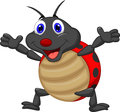 Happy ladybug cartoon illustration of Royalty Free Stock Photo