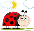 Happy ladybug in the sunshine Stock Image