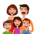 Happy large family, portrait. People, parents and children. Cartoon vector illustration Royalty Free Stock Photo