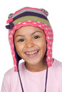 Happy latin child with bonnet wool Royalty Free Stock Photos