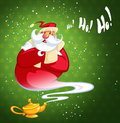Happy laughing cartoon genie santa claus coming out of a magic o excited oil lamp making gesture in green background with stars Royalty Free Stock Photos