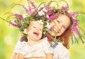 Happy Laughing Daughter Huggin...