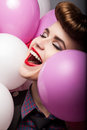 Happy Laughing Girl -  Air Balloons - Sales Stock Images
