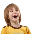 Happy laughing little boy isolated on white Royalty Free Stock Photo
