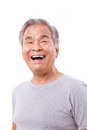 Happy laughing old man white isolated background Royalty Free Stock Photos