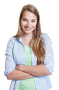Happy laughing woman with blond hair in casual clothes Royalty Free Stock Photo