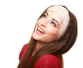 Happy laughing woman looking up isolated Royalty Free Stock Photo