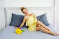 Happy laughing woman in yellow dress Royalty Free Stock Photo