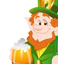 Happy Leprechaun Drinking Beer Stock Image