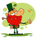 Happy Leprechaun Smoking A Pipe Royalty Free Stock Images