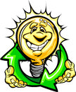 Happy Light Bulb with Hands Holding Recycle Symbol Royalty Free Stock Photography