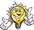 Happy Light Bulb with Pointing Finger Cartoon Royalty Free Stock Image