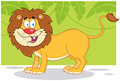 Happy lion with jungle background cartoon mascot character Stock Photography
