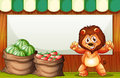 A happy lion selling fruits with an empty template at the back illustration of Royalty Free Stock Photography