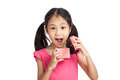 Happy little asian girl  surprise with red gift box Royalty Free Stock Photo