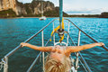 Happy little baby girl on board of sailing yacht Royalty Free Stock Photo