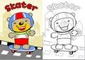 Happy little bear cartoon playing skateboarder