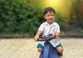 Happy Little Boy Drive Toy Car...