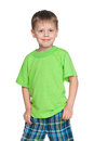 Happy little boy in the green shirt a portrait of a smiling against white background Royalty Free Stock Image