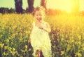 Happy Little Child Girl Runnin...