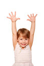 Happy little child raising hands up ready your text logo symbol isolated white background Royalty Free Stock Image