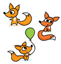Happy little foxes a illustration of Stock Images