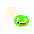 Happy little furball monster with speech bubble Royalty Free Stock Photo