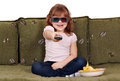 Happy little girl with 3d glasses Stock Image