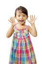 Happy little girl asian isolated over white background Royalty Free Stock Photography