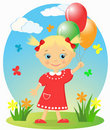 Happy little girl with balloons. Royalty Free Stock Photography