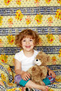Happy little girl bedtime Royalty Free Stock Photography