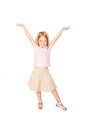 Happy little girl dancing isolated on white background Royalty Free Stock Photography