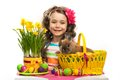 Happy little girl with easter rabbit and eggs in basket greeting card isolated on white background Royalty Free Stock Images