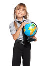 Happy little girl globe world isolated white background Stock Photos