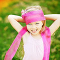 Happy little girl having fun outdoors outdoor Stock Photography
