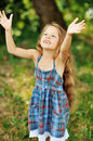 Happy little girl having fun outdoors sweet Stock Photography